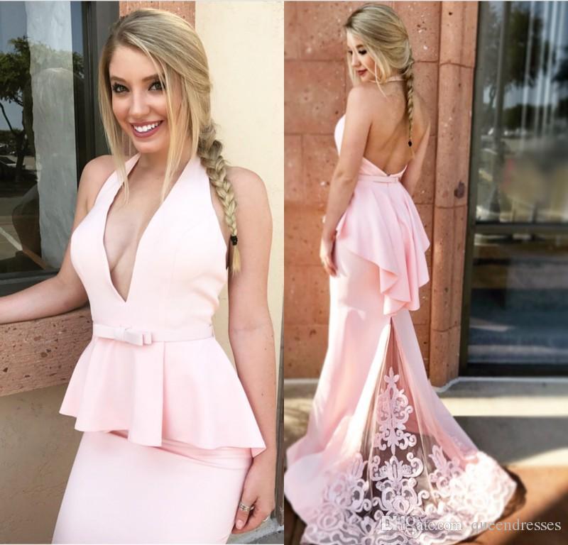 Elegant Pink Long Evening Dresses Satin Halter v Neck Mermaid Evening Gowns Backless Formal Women Special Occasion Prom Dress Custom Made