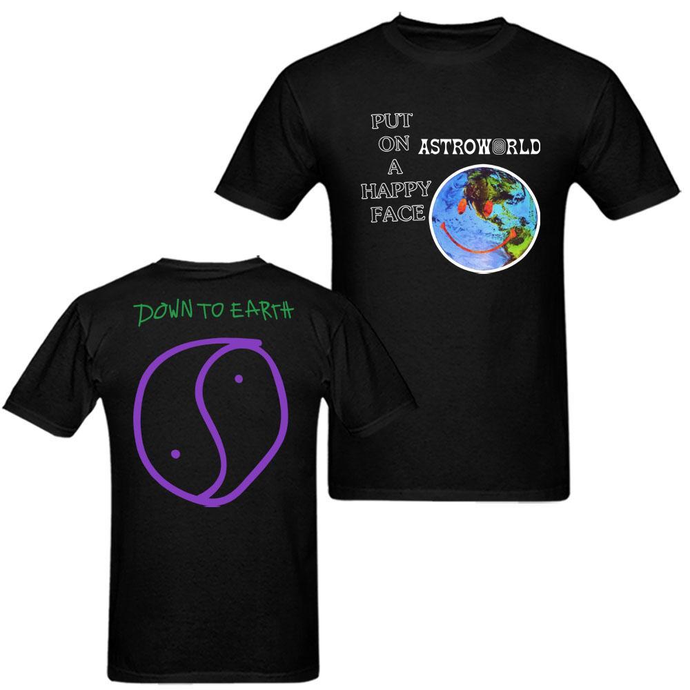 f8fd6f0346bf Travis Scott Astroworld Happy Face T Shirt Mens And Womens Cotton Printing  TShirt Big Size S XXXL Shopping T Shirts Amusing T Shirts From Yuanbai, ...