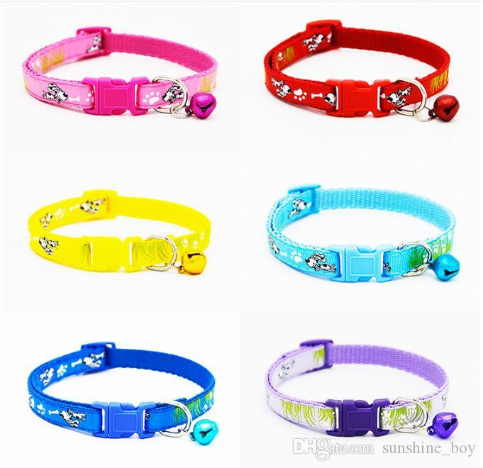 2018 High Quality Safety Nylon Dog Puppy Cat Collar Breakaway Adjustable Cats Collars with charm Bell and grass puppy width 1.0cm