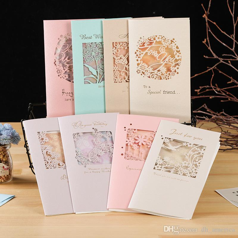 Creative Hollow Greeting Cards For Boy Girls Laser Cut Birthday Card Fashion Christmas Friend Greetings