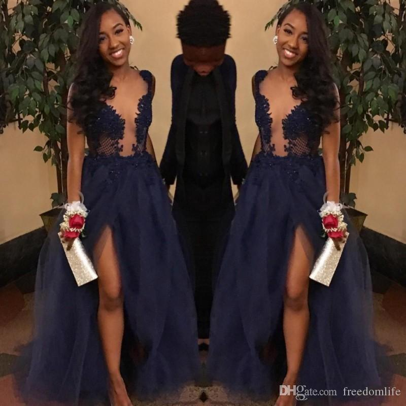 2018 Couple Fashion Navy Blue Prom Dresses Sheer Illusion Top Split Evening  Gowns Tulle Appliques Plunging V Neck Vestidos Party Dress Short White Prom  ... 8d09d9caa