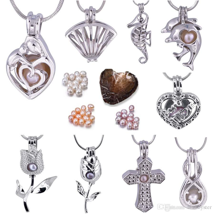 Love Wish Pearl Silver Jewelry Pearl Cage Pendant Dolphins/Rose/Cross/Shell/Peanut/Sea Horse/Best Mom New Style(Necklace+Oyster)P007