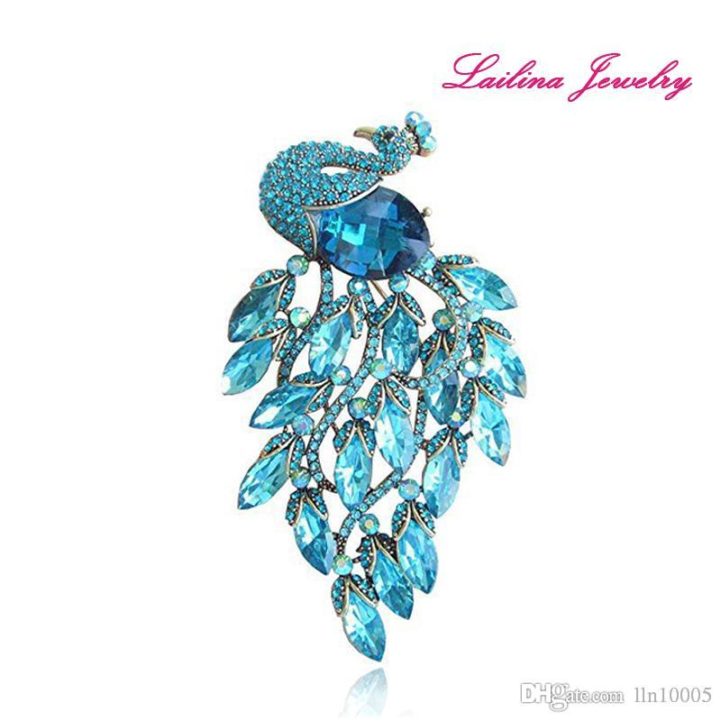 Art Style Gold Tone Blue Rhinestone Peacock Brooch Pins UK 2019 From  Lln10005 e517e21adc9f