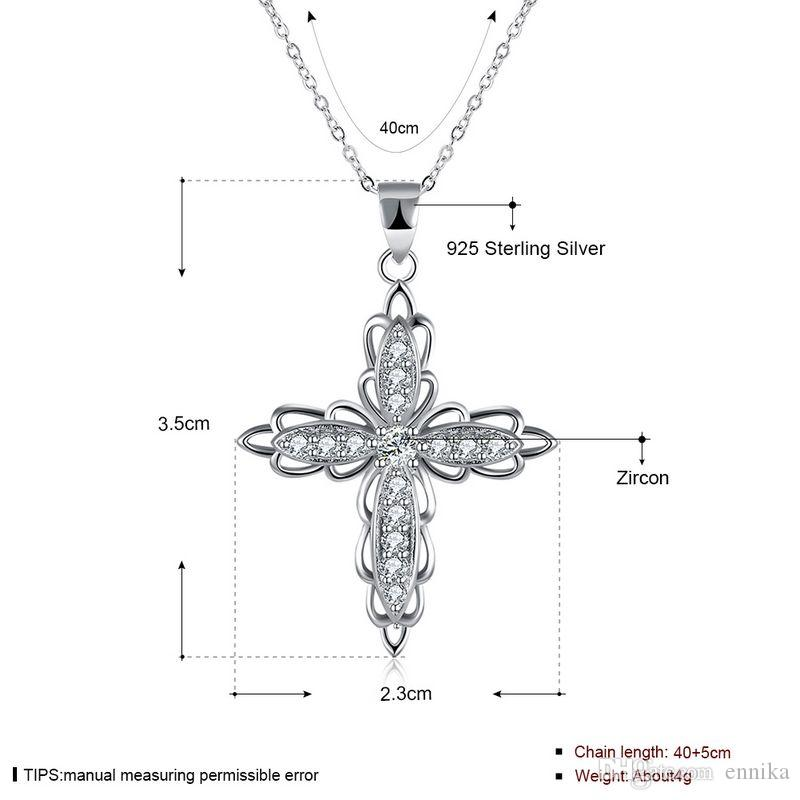 Sterling Silver 925 Necklace Lady Zircon Jewelry Pure Silver Double Flower Pendant Necklace n114
