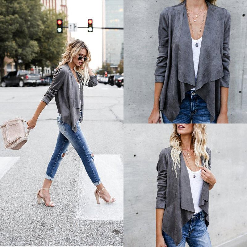 Fashion Women Suede Fabric Coats Warm Lady 2 Style Long Open Stitch Slim Solid Jacket Outfit Spring Autumn