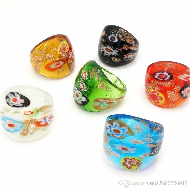 Großhandel 12 stück mischen farbe lampwork glas murano ringe 17-19mm band ring