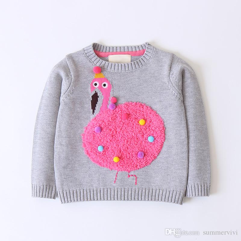 1ed39475e Girls Cartoon Fleece Flamingos Sweater Kids Colorful Pompon Applique  Pullover Children Round Collar Long Sleeve Knitted Jumper F2056 Knit  Sweater Patterns ...
