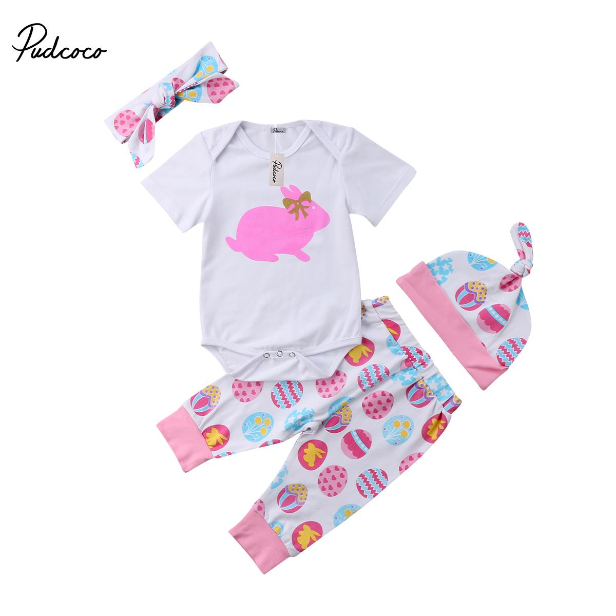 e84e3e33b Newborn Baby Girl Easter Bunny Clothes Romper Bodysuit Egg Print ...