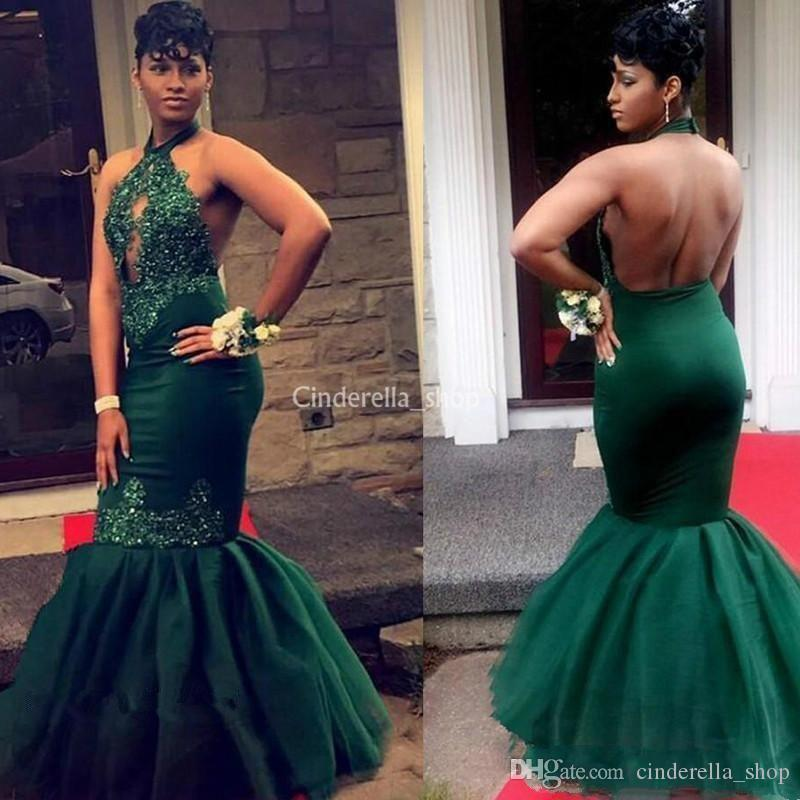 d6962568e3b9 Black Girl Mermaid Evening Dresses 2018 Halter Appliques Beads Open Back  Long Dark Green Women'S Party Prom Dresses Plus Size Customized Evening  Dresses ...