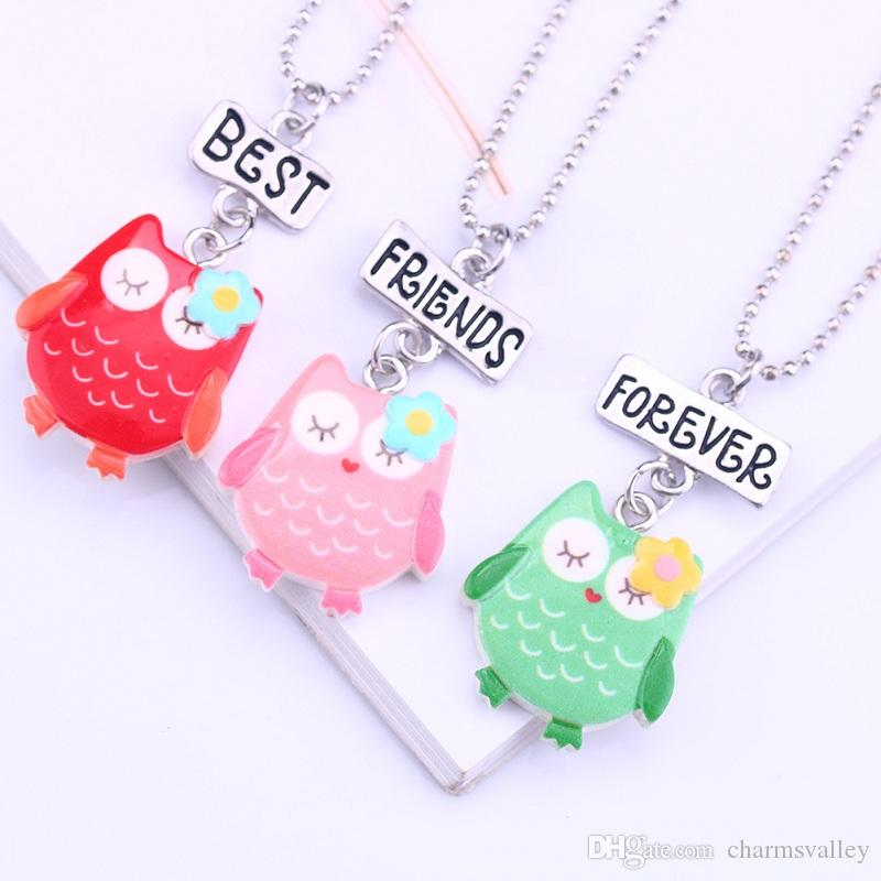 Wholesale Cartoon Owl Necklace Best Friends Forever Pendant Charms