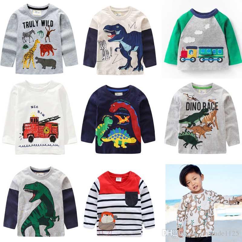 6bf71ab74 2019 Kids Fall NEW Arrival Boys Kids Cartoon Dinosaur Design Long Sleeve T  Shirt Kids Causal 100% Cotton Girl Causal T Shirt From Ivytrade1125, ...