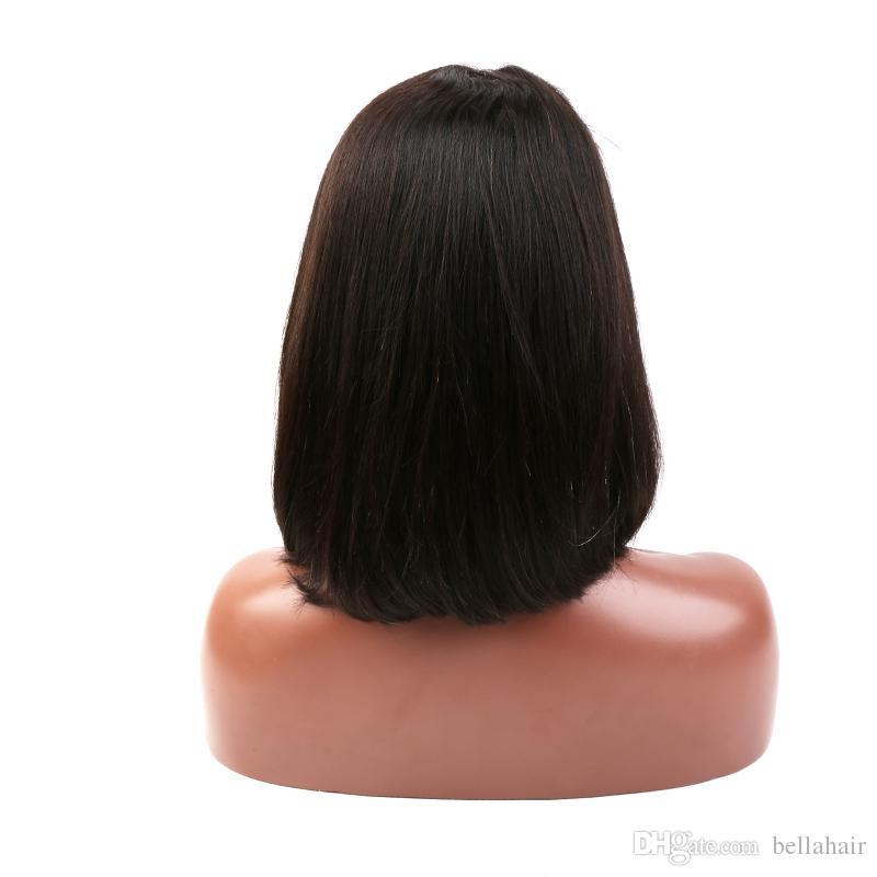 PIENA merletto anteriore parrucche donne di colore 150% della densità del Virgin del brasiliano capelli umani tesse Bob diritto Media Cap Medio Parte Bob Bellahair