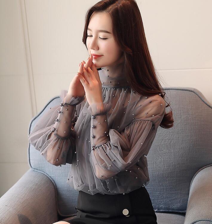2018 Весна Женская кружевная блузка с длинным рукавом из бисера Элегантные прозрачные топы Женская повседневная рубашка Блузки Серый абрикос C3246