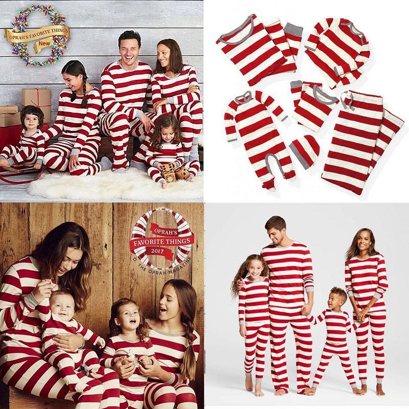 Compre Conjunto De Trajes A Juego De La Familia Rayas De Navidad