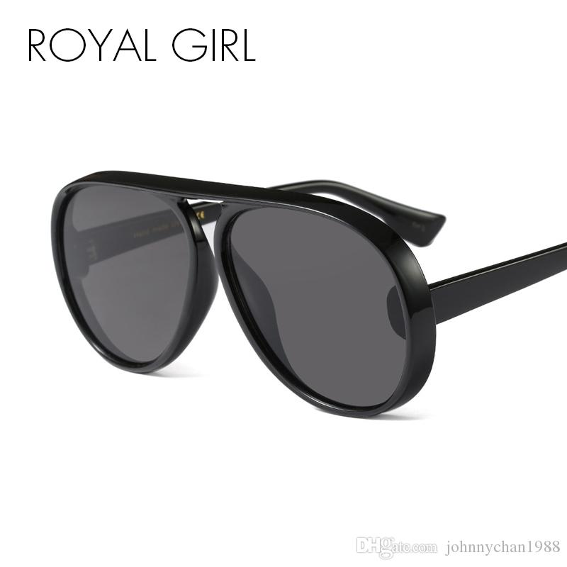 d578cc651e ROYAL GIRL Vintage Black Flat Top Sunglasses Men Women 2018 New Oversized  Pilot High Quality Unisex Sun Glasses Oculos Ss070 Heart Shaped Sunglasses  ...