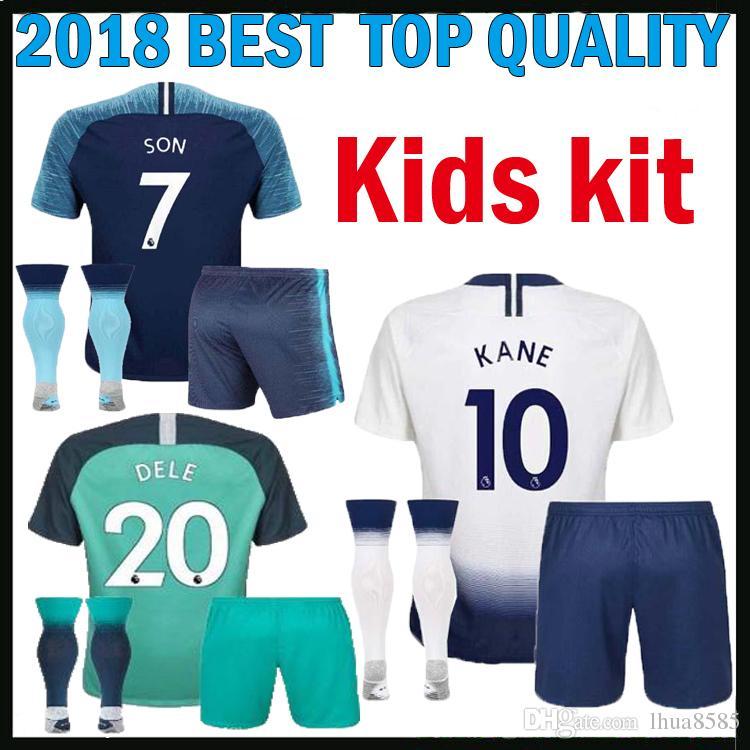 08dbfa6d8eb Kids Kit 2018 2019 KANE DELE ERIKSEN Home Away Soccer Jersey LAMELA ...
