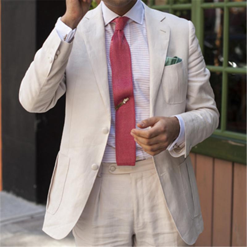 1c51e2d501 White Linen Men Suit For Wedding 2 Pieces(Jacket+Pants+Tie) Slim Fit Latest  Coat Pant Designs Blazer Custom Made Clothes Men 12