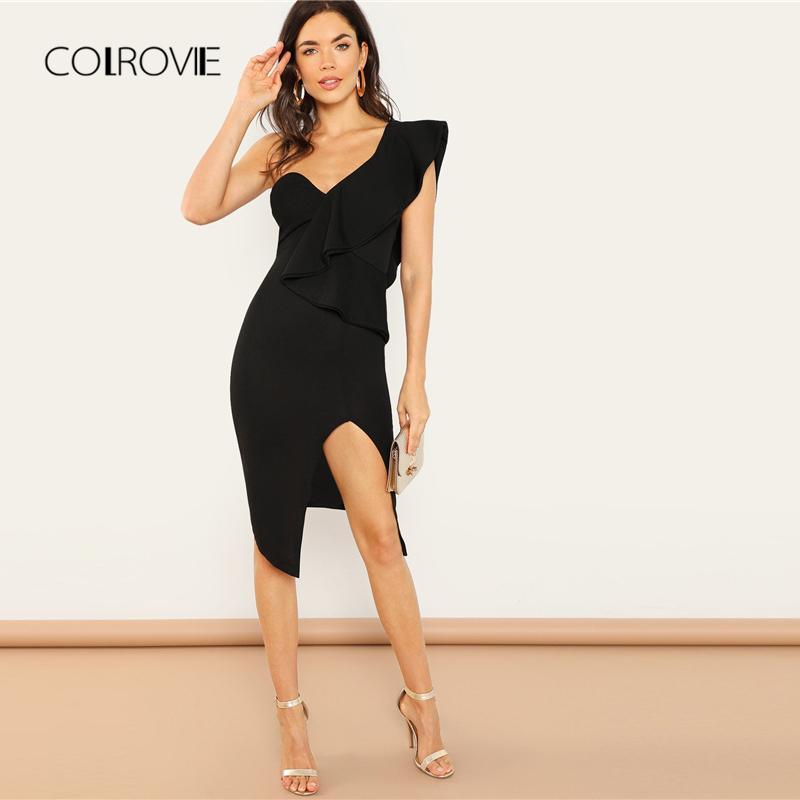 ab802239c533 2019 COLROVIE Black One Shoulder Ruffle Backless Split Sexy Dress Women  2018 Autumn Elegant Party Dress Bodycon Midi Dresses From Houmian