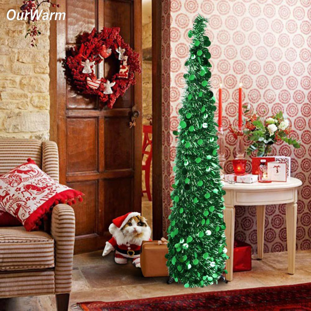 ourwarm christmas tree decorations artificial christmas trees pop up 2018 new year decor for home easy to store and pull up wooden christmas decorations