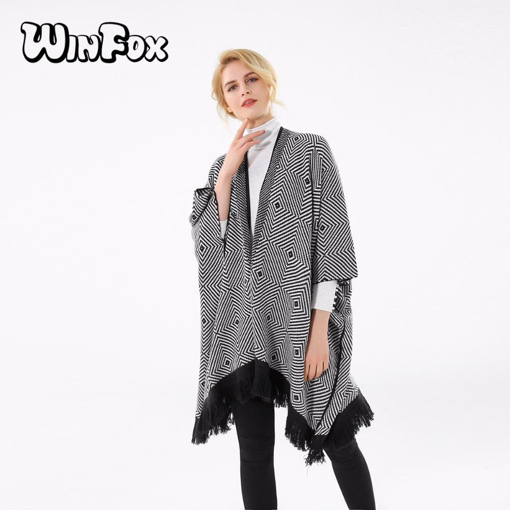 Winfox 2017 Nueva Marca de Moda de Invierno Negro Blanco Plaid Rayas Pashmina Frente Abierto Poncho Bufanda Para Mujeres Damas