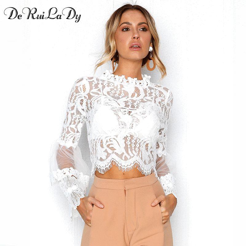 124f6604793 DeRuiLaDy Sexy Hollow Out White Lace Blouse Shirt Women Elegant ...