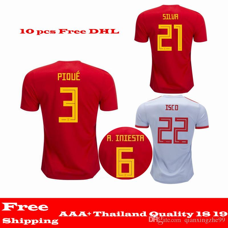 a24b2718c 2019 2018 World Cup Spain Jersey Home Away Soccer Jerseys Spain Home Soccer  Shirt 18 19 MORATA ISCO A.INIESTA ASENSIO Football Jerseys From  Qianxingzhe99