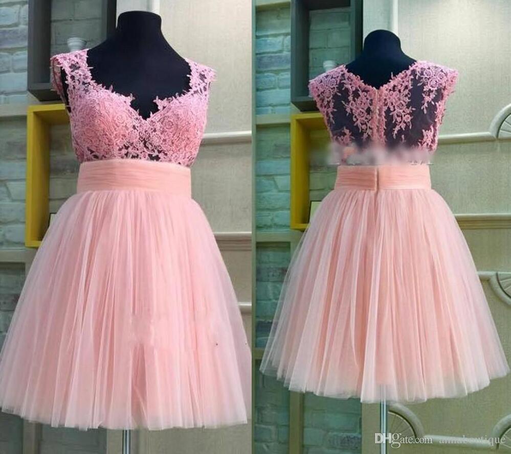 Compre Vestidos De Fiesta De Encaje Rosa Y Gasa 2018 Vestidos De ...