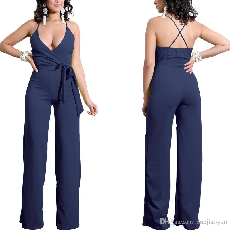 e01b64993f 2019 Big Size Sleeveless Romper Clubwear Playsuit Bodycon Party Jumpsuits  Wide Leg Overlay Jumpsuit Casual Clothes Trousers Pants Womens Fat Lady  From ...