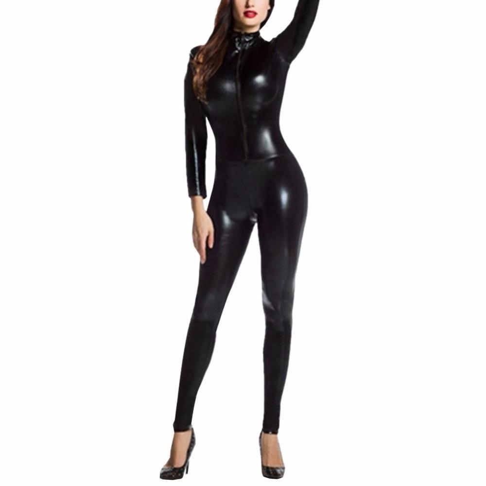 993247e1ce64 2019 Sexy Faux Leather Latex Zentai Catsuit Skin Tight Shiny Smooth Wetlook  Jumpsuit Front Zipper Elastic PUBodysuit Slim Clubwear From Beenlo
