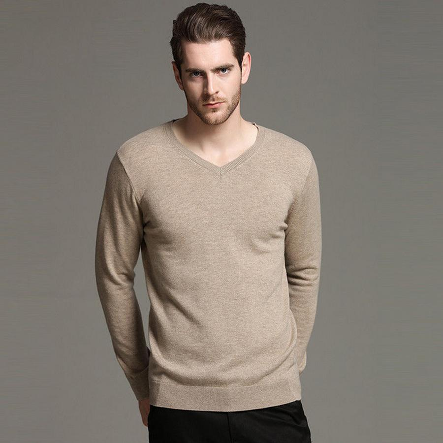 6ee66c21f1af 2019 Sweater Men V Neck Winter Warm 100% Wool Men S Pullover Sweaters  Casual Slim Fit Male Knitted Jumpers Red Black Blue Khaki From Zhusa