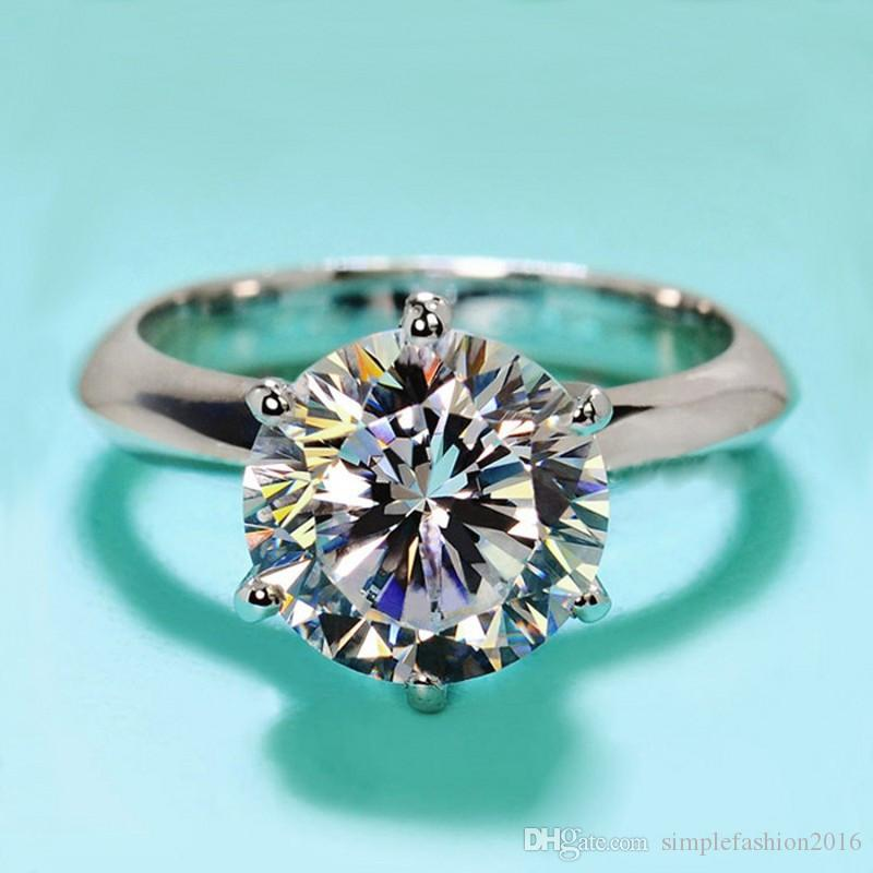 New Design Women Engagement Jewelry 925 sterling Silver 7mm 5A Crystal Zircon 5A Zircon stone Female Wedding Finger Rings