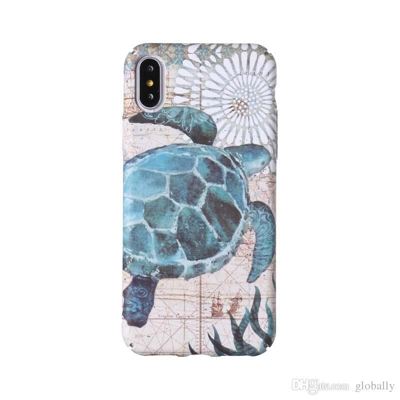 buy online 94216 35779 Fashion design Hard Phone Case Sea Horse Turtle Octopus Marine Ocean Matte  Luminous Emboss phone case For iPhone 6 6S 6Plus 7 7Plus 8 8Plus