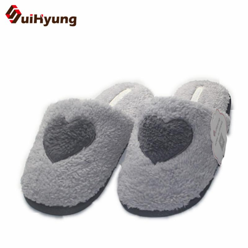 Suihyung Winter Warm Women Plush Home Slippers Sweet Heart Pattern Furry Flat Slippers House Bedroom Floor Slippers Indoor Shoes