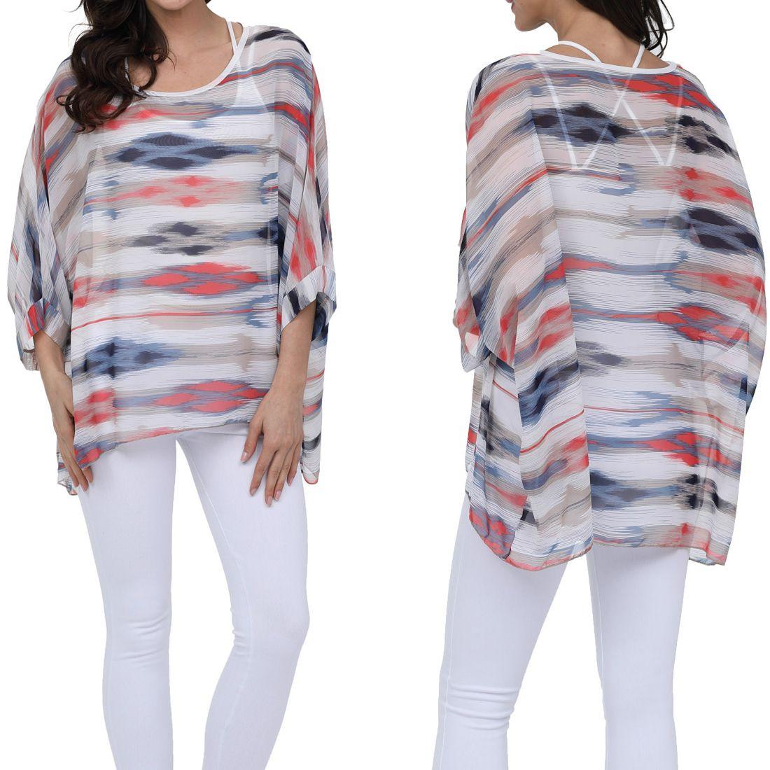 026557b86eb1 Fashion Women Loose Blouse Mixed Color Printed O-Neck Dolman Sleeve ...