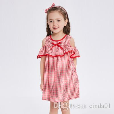 434fa0b1b 2019 Girl A Line Dress New Summer Bow Design Plaid Printed Ruffles ...