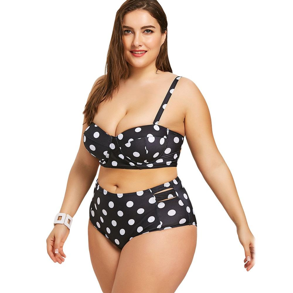 33e73aafb91 2019 Women Polka Dot Printed Moulded Cup Plus Size Pin Up Bikini Set High  Waisted Padded Swimsuit Swimwear Women Big Size Biquini From Shuokai1995