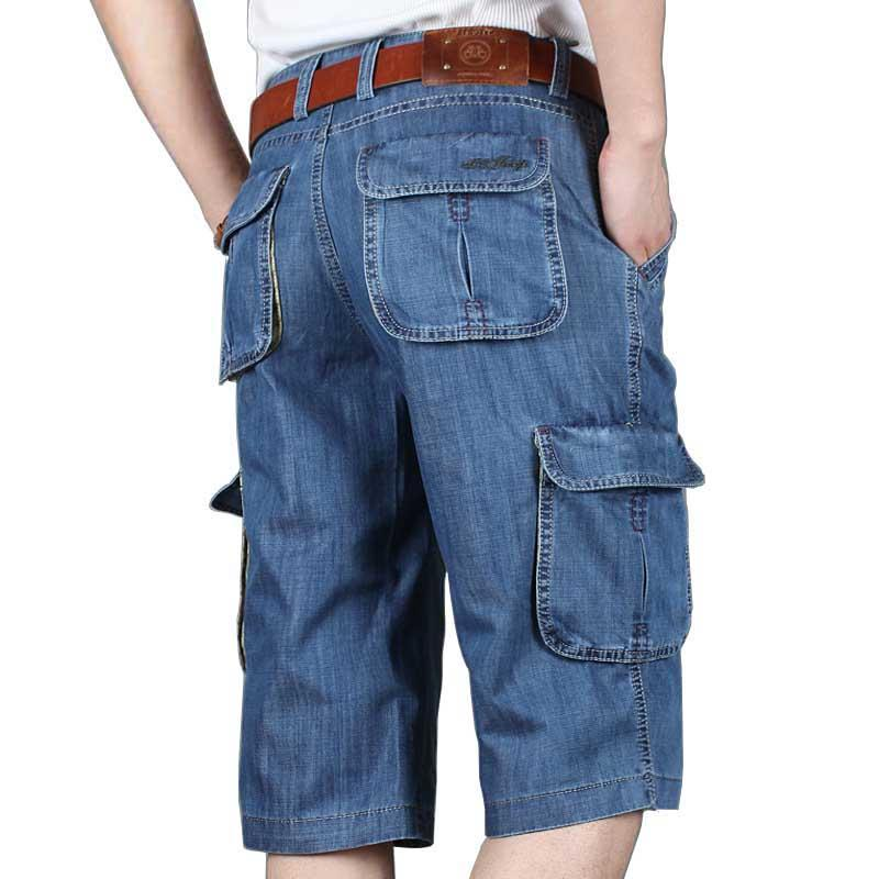 5dc35f69d3 2019 Summer New Brand Mens Jeans Denim Shorts Cotton Cargo Shorts Big  Pocket Loose Baggy Wide Leg Embroidery Bermuda Beach Boardshort From  Swifty000, ...