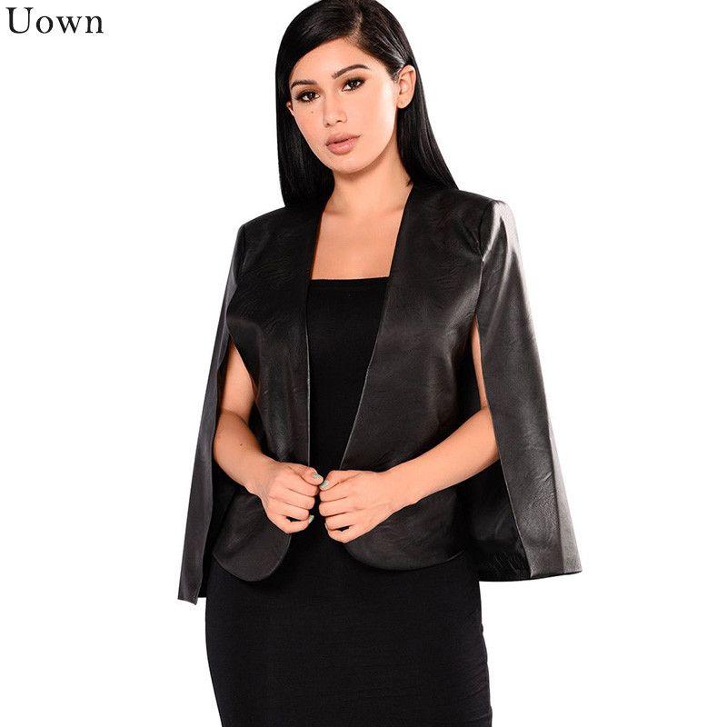 Compre Uown Negro PU Capa De Cuero Escudo Casual Split Poncho Chaqueta Para  Mujeres Moda Capa Del Cabo Frente Abierto Delgado Oficina Señoras Blazer A  ... 1116b45af7f2