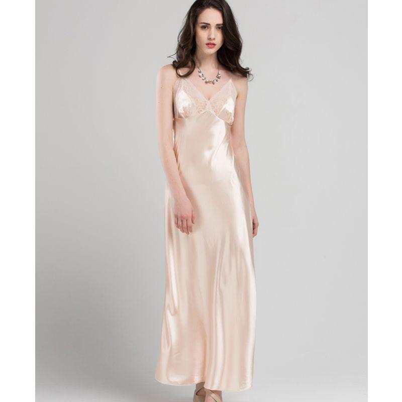 63b625b875 2019 Lace Sexy Sling Sleeping Dress Satin Silk Sleepwear Women Faux Silk  Long Bathrobes Female Sleeveless V Neck Nightgowns C1618 From Regine