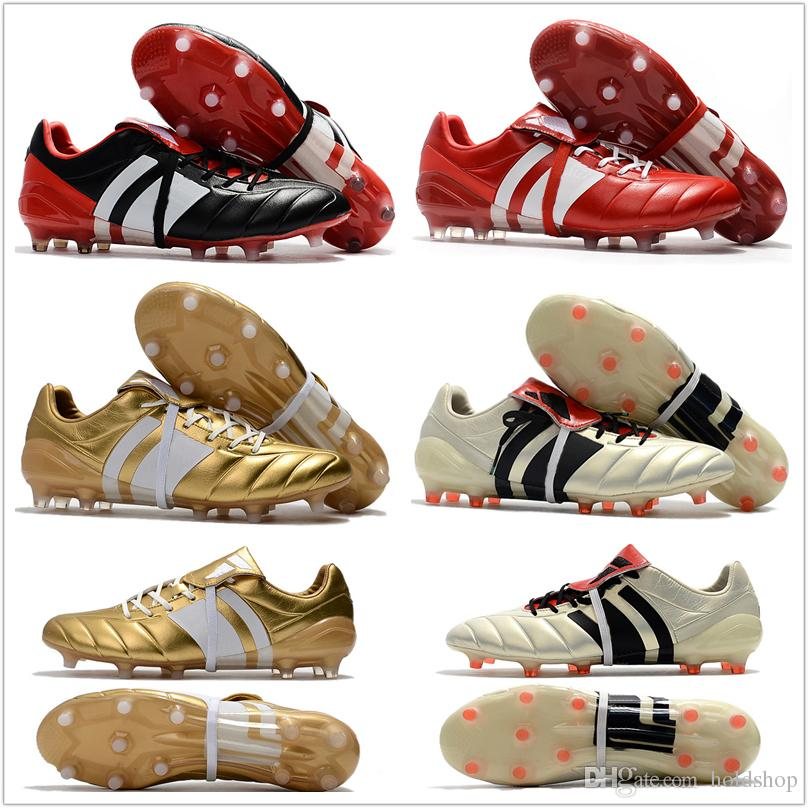 size 40 ce046 0324b 2018 Best Quality Predator Mania ACE 17+ Purecontrol Champagne FG Soccer Boots  Football Boots White Core Mens Cleats Shoes Size 39-46