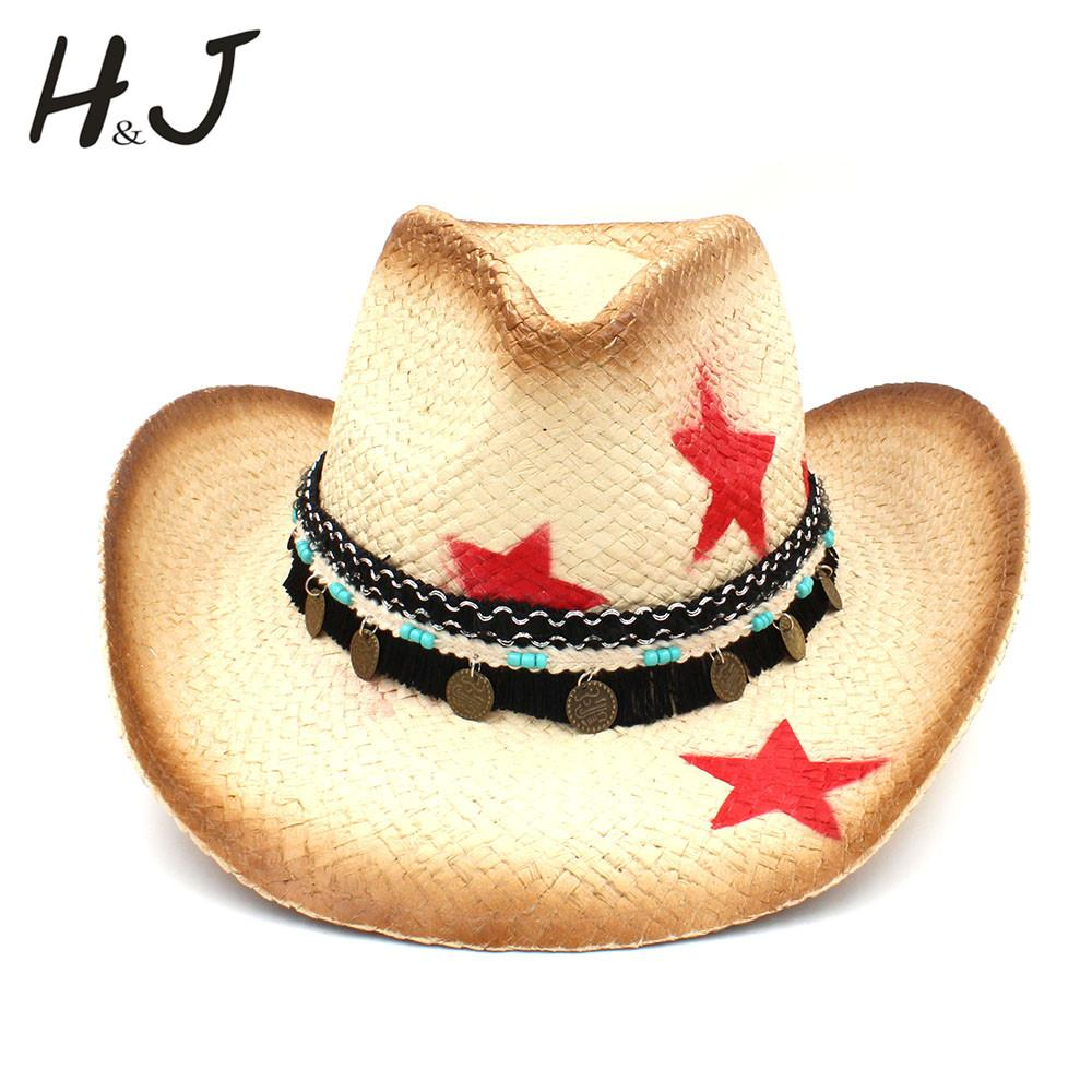 17bfb7a1f0e12 100% Straw Women Western Cowboy Hat With Tassel Leather Band Star Lady Dad Sombrero  Hombre Cowgirl Jazz Caps Size 58CM Black Hats Scala Hats From ...