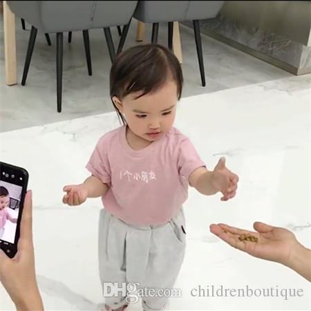 طفل الفتيات ملابس الرضع أطفال تي شيرت قمم قصيرة الأكمام الخيزران القطن الأحرف الصينية تي شيرت الأطفال الفتيات ملابس لينة سترة الصيف