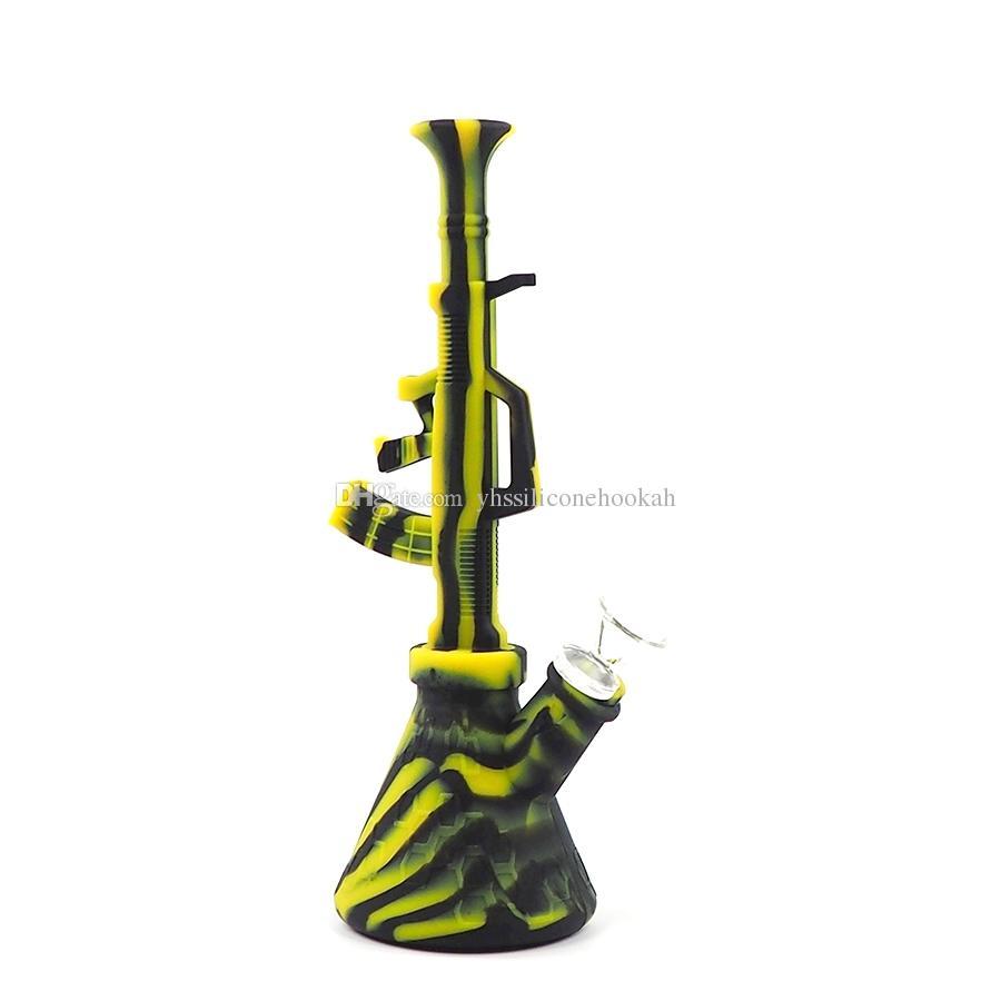 forma de metralhadora ak47 bonger bong canos de água bongo de silicone portátil unbreakable silicone bong cachimbo cachimbo de água