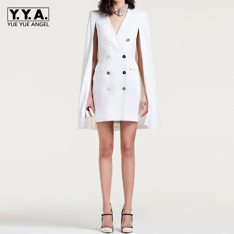 8d7a04dcff05 Acquista 2018 New Fashion Office Ladies Bianco Doppio Petto Blazer Dress  Donne Formale Partito Del Capo Slim Fit Dress Suit Sexy Scollo A V Giacca A  $140.23 ...