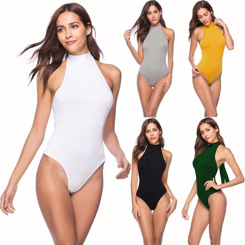 2019 Women Ladies Slim Bodysuit Halter Neck Black Leotard Top Slim Stretch  Rompers Long Sleeve Bodycon Skinny Jumper From Xuqiuxiang3 6287a3237