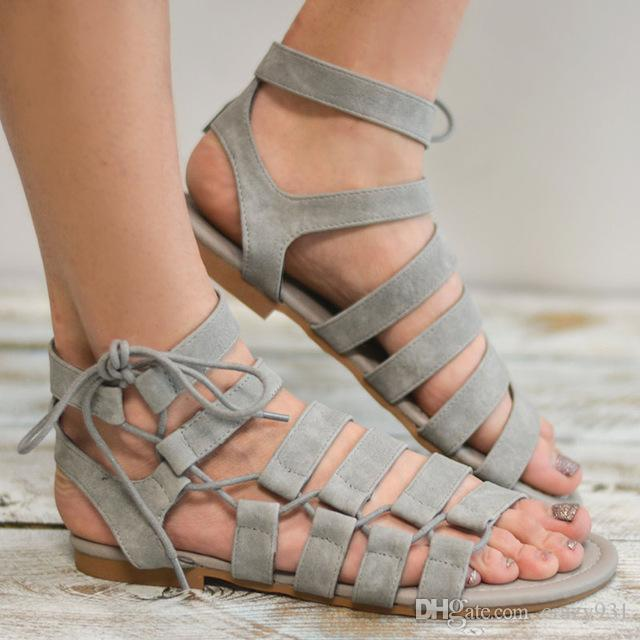 6936ac4db51 Women Designer Sandals Plus Size 34 43 Gladiator Sandals 2018 Summer Summer  Shoes Woman Beach New Style Casual Flat Sandals Shoes Ladies Womens Sandals  ...