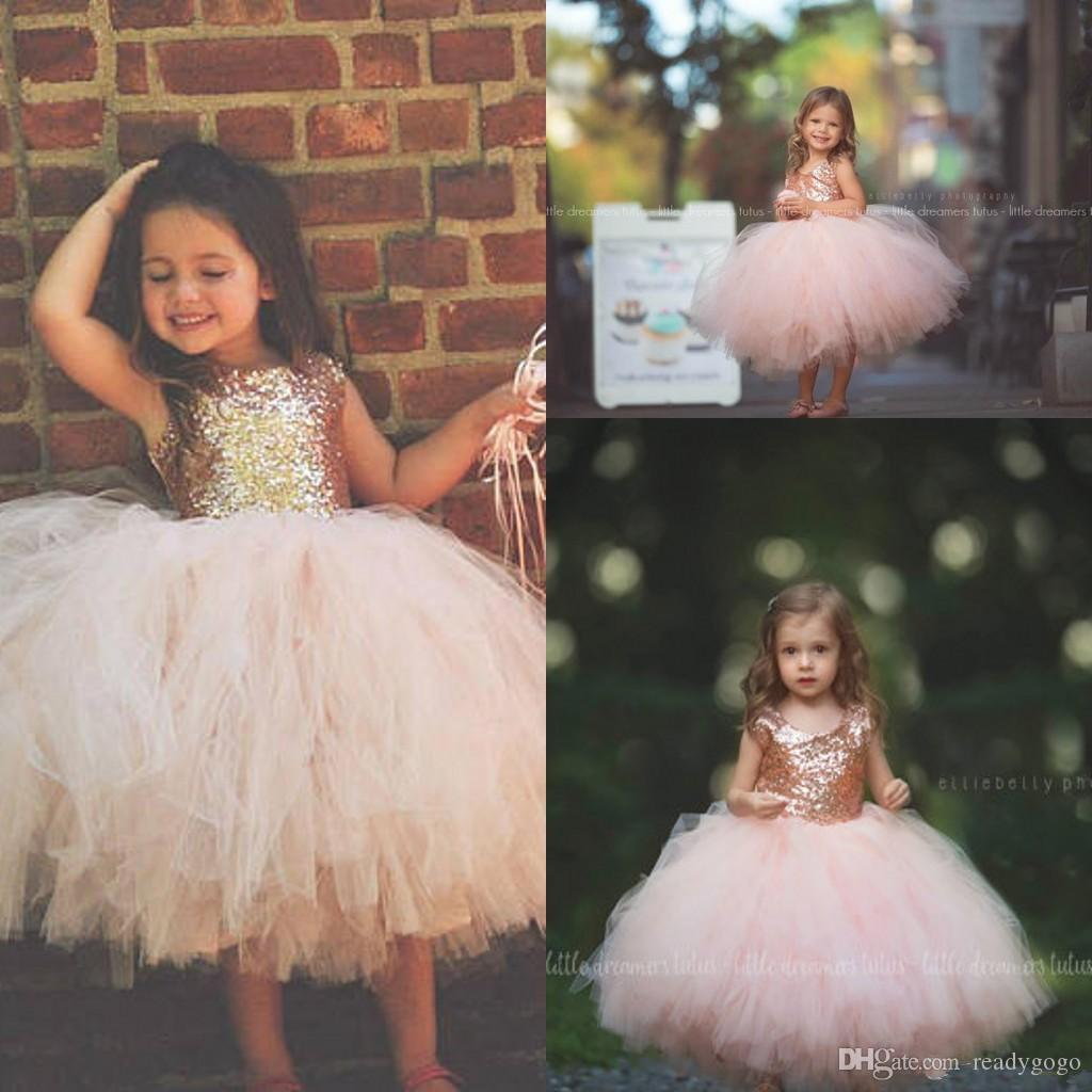 Blush Pink Tutu Toddler Infant Flower Girls Dresses Sparkly Rose Gold Sequins Little Princess First Communion Wedding Party Dress