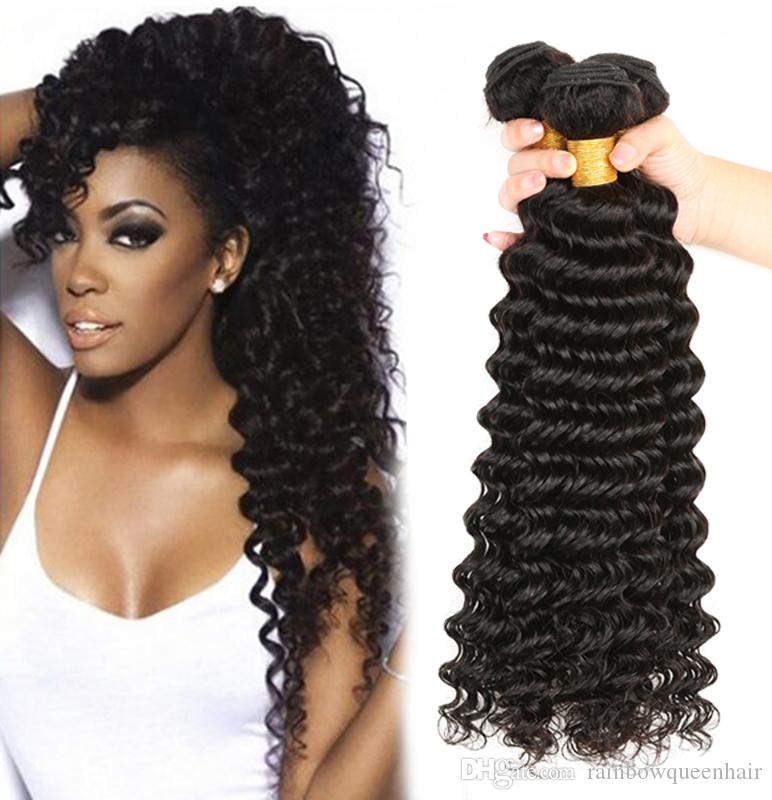 8A Unprocessed Peruvian virgin bundles Deep Wave Curly Hair Weft 3/4 pcs/lot Human Hair Peruvian Indian Malaysian Hair Extensions Dyeable