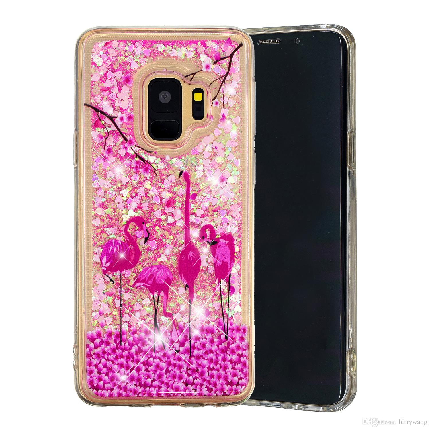 Fashion Glitter Liquid Water Quicksand Phone Case For Samsung Note 9 S9  Plus A6 Plus 2018 Floating Flowing Sparkle Shinny Bling Cover Leather Cell  Phone ... d7832bbb5