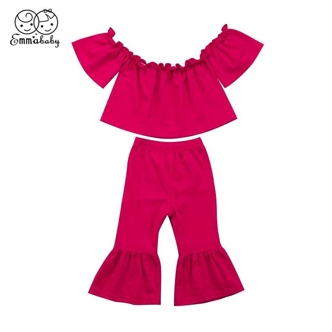 10d1394a8 2019 2018 New Fashion Toddler Baby Kids Girl Off Shoulder Short Sleeve Top  Long Bell Bottom Pants Summer Cute Red Outfits Set From Gaozang, $33.05 |  DHgate.